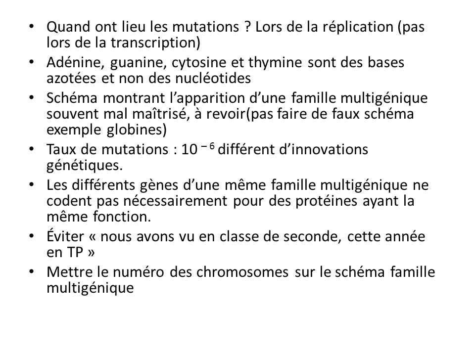 Énormités : lADN polymérase associe une chromatide à une autre lors de la réplication… LADN contient notre code génétique… Brin codant avec U… Le code génétique traduit les acides aminés en protéines (en introduction…) LARN polymérase permet la réplication… La duplication dun gène permet lapparition dun nouvel allèle… Les cellules germinales sont transmises à la descendance « dautres mutations sont observables comme la mutation faux sens et la mutation non-sens : la première substitue un acide aminé à un autre sur une chaîne de nucléotides et la deuxième remplace un codon codant pour une protéine par un codon stop» .