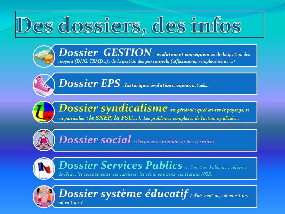 Dossier GESTION : évolution et conséquences de la gestion des moyens (DHG, TRMD...), de la gestion des personnels (affectations, remplacement, …) Dossier EPS : historique, évolutions, enjeux actuels...