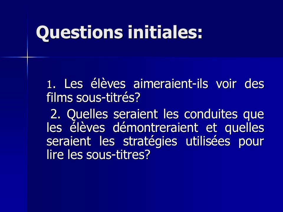 Questions initiales: 1. Les élèves aimeraient-ils voir des films sous-titrés? 2. Quelles seraient les conduites que les élèves démontreraient et quell