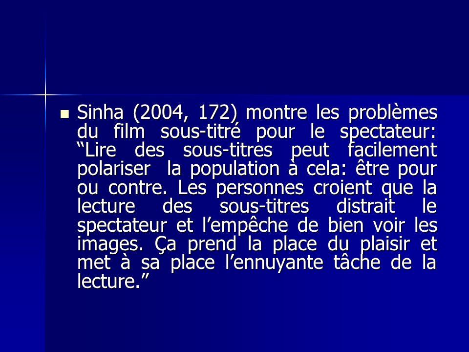 Sinha (2004, 172) montre les problèmes du film sous-titré pour le spectateur: Lire des sous-titres peut facilement polariser la population à cela: être pour ou contre.