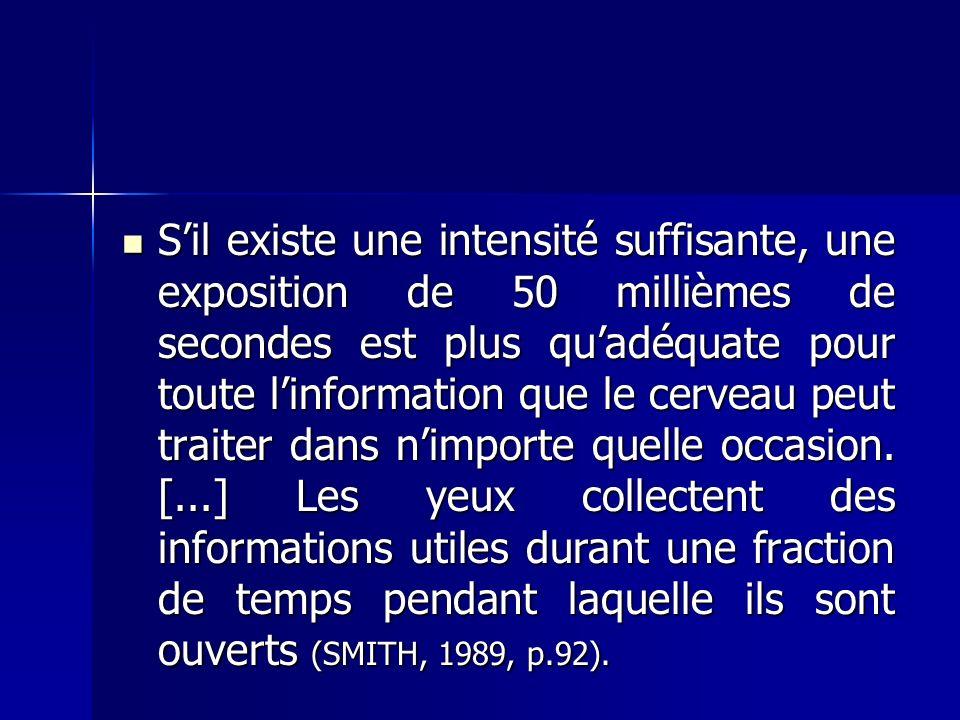Sil existe une intensité suffisante, une exposition de 50 millièmes de secondes est plus quadéquate pour toute linformation que le cerveau peut traiter dans nimporte quelle occasion.