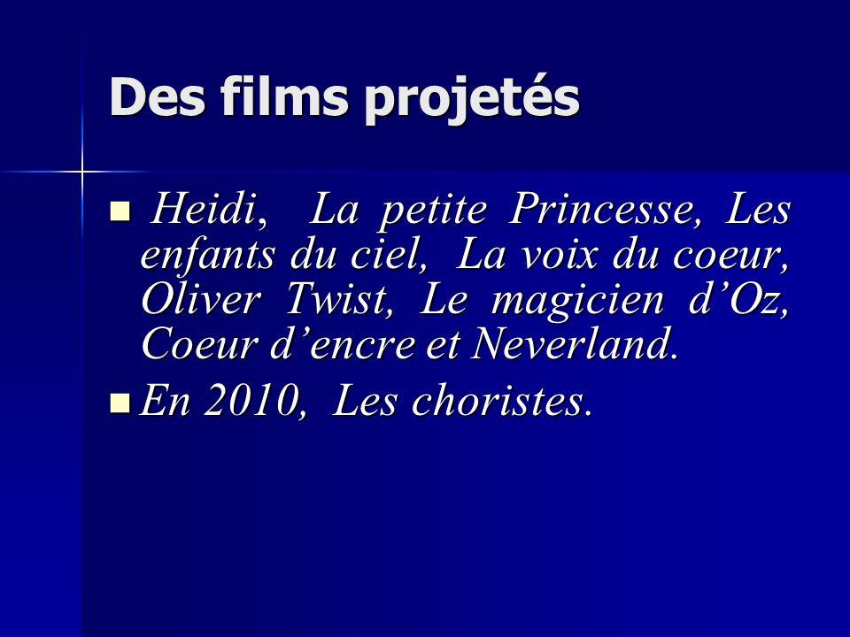 Des films projetés Heidi, La petite Princesse, Les enfants du ciel, La voix du coeur, Oliver Twist, Le magicien dOz, Coeur dencre et Neverland. Heidi,