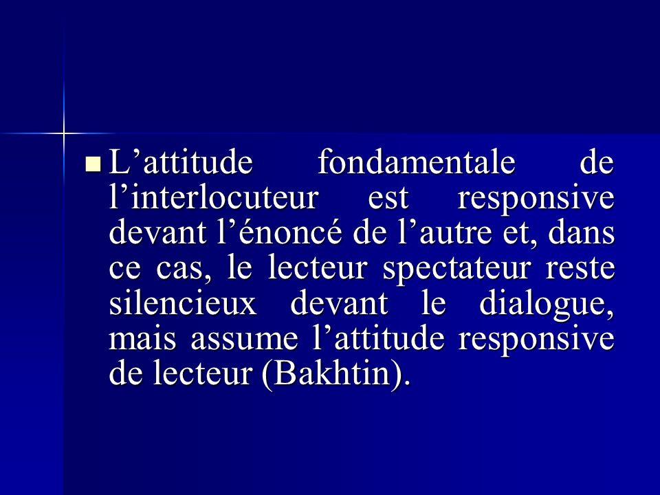Lattitude fondamentale de linterlocuteur est responsive devant lénoncé de lautre et, dans ce cas, le lecteur spectateur reste silencieux devant le dialogue, mais assume lattitude responsive de lecteur (Bakhtin).