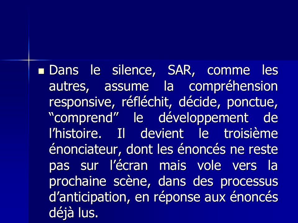 Dans le silence, SAR, comme les autres, assume la compréhension responsive, réfléchit, décide, ponctue, comprend le développement de lhistoire.