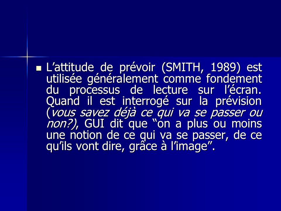 Lattitude de prévoir (SMITH, 1989) est utilisée généralement comme fondement du processus de lecture sur lécran. Quand il est interrogé sur la prévisi
