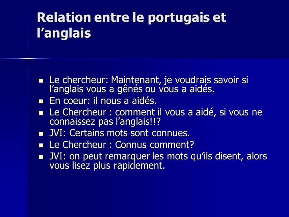 Relation entre le portugais et langlais Le chercheur: Maintenant, je voudrais savoir si langlais vous a gênés ou vous a aidés. Le chercheur: Maintenan
