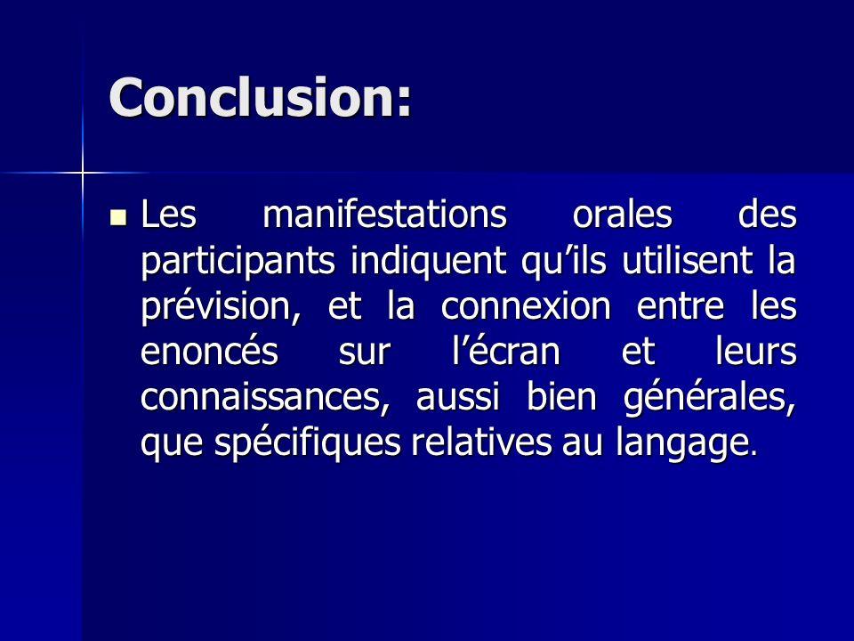 Conclusion: Les manifestations orales des participants indiquent quils utilisent la prévision, et la connexion entre les enoncés sur lécran et leurs connaissances, aussi bien générales, que spécifiques relatives au langage.