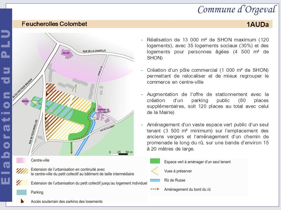 -Réalisation de 13 000 m² de SHON maximum (120 logements), avec 35 logements sociaux (30%) et des logements pour personnes âgées (4 500 m² de SHON) -Création dun pôle commercial (1 000 m² de SHON) permettant de relocaliser et de mieux regrouper le commerce en centre-ville -Augmentation de loffre de stationnement avec la création dun parking public (80 places supplémentaires, soit 120 places au total avec celui de la Mairie) -Aménagement dun vaste espace vert public dun seul tenant (3 500 m² minimum) sur lemplacement des anciens vergers et laménagement dun chemin de promenade le long du rû, sur une bande denviron 15 à 20 mètres de large.