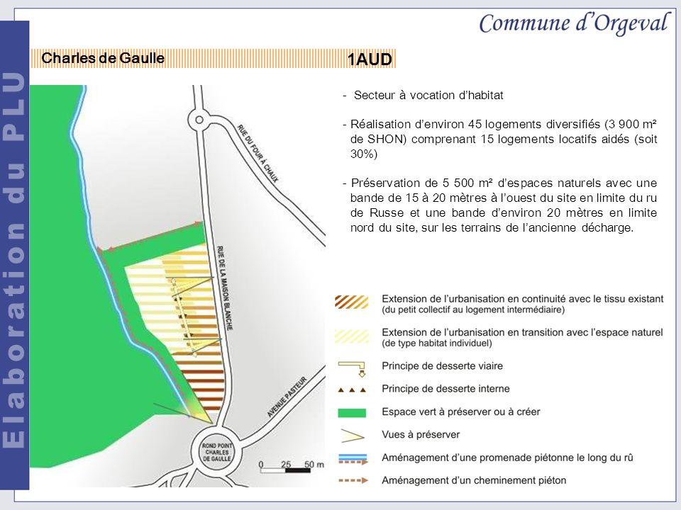 1AUD Charles de Gaulle - Secteur à vocation dhabitat -Réalisation denviron 45 logements diversifiés (3 900 m² de SHON) comprenant 15 logements locatifs aidés (soit 30%) - Préservation de 5 500 m² despaces naturels avec une bande de 15 à 20 mètres à louest du site en limite du ru de Russe et une bande denviron 20 mètres en limite nord du site, sur les terrains de lancienne décharge.