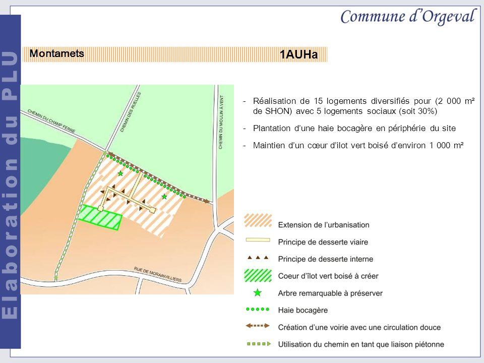 1AUHa Montamets -Réalisation de 15 logements diversifiés pour (2 000 m² de SHON) avec 5 logements sociaux (soit 30%) -Plantation dune haie bocagère en périphérie du site -Maintien dun cœur dilot vert boisé denviron 1 000 m²
