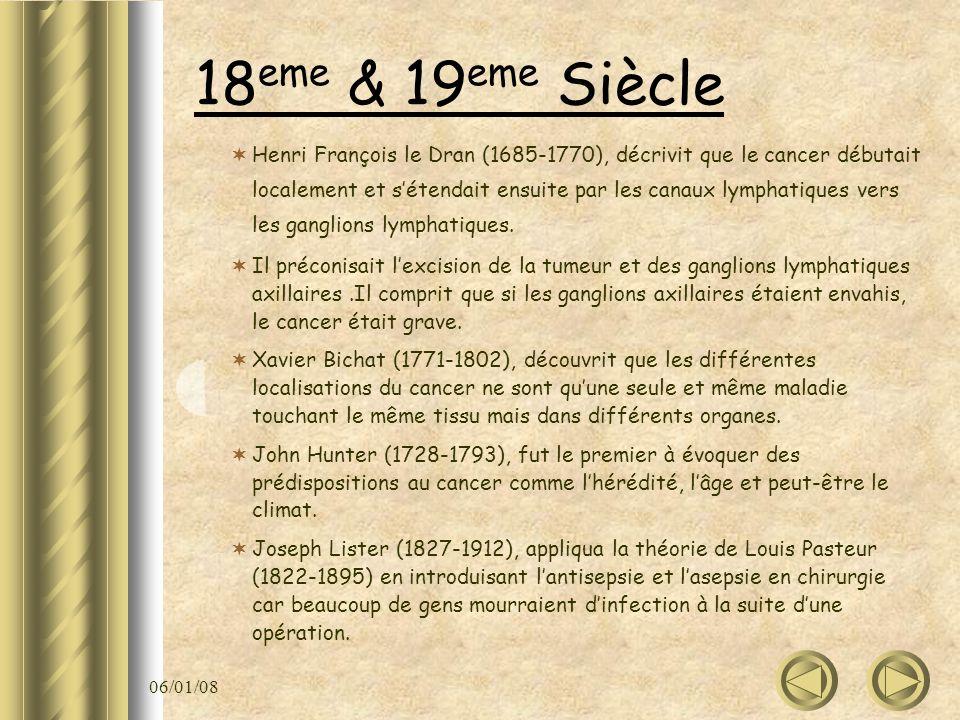 06/01/08 18 eme & 19 eme Siècle Henri François le Dran (1685-1770), décrivit que le cancer débutait localement et sétendait ensuite par les canaux lym