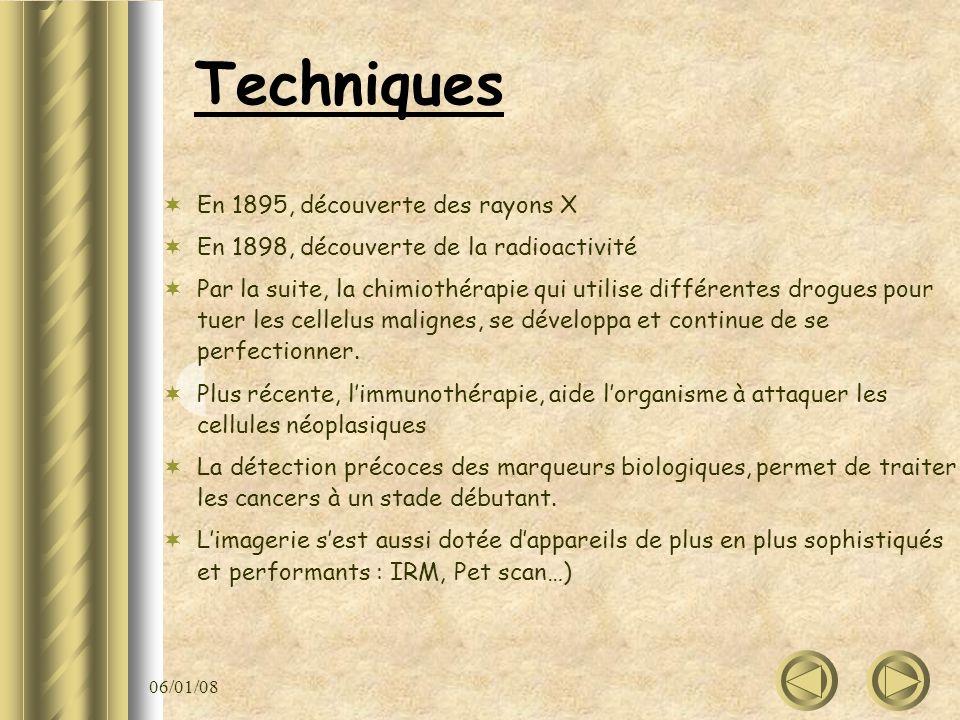 06/01/08 Techniques En 1895, découverte des rayons X En 1898, découverte de la radioactivité Par la suite, la chimiothérapie qui utilise différentes d