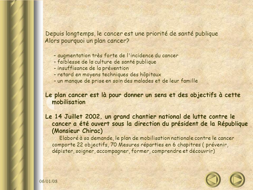 06/01/08 Depuis longtemps, le cancer est une priorité de santé publique Alors pourquoi un plan cancer? - augmentation très forte de l'incidence du can