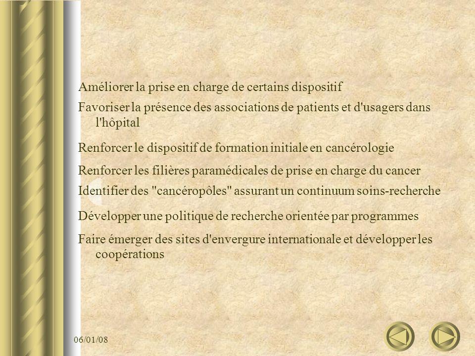 06/01/08 Améliorer la prise en charge de certains dispositif Favoriser la présence des associations de patients et d'usagers dans l'hôpital Renforcer