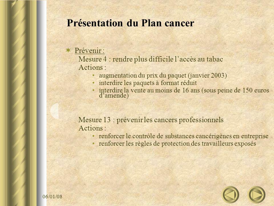 06/01/08 Présentation du Plan cancer Prévenir : Mesure 4 : rendre plus difficile laccès au tabac Actions : augmentation du prix du paquet (janvier 200