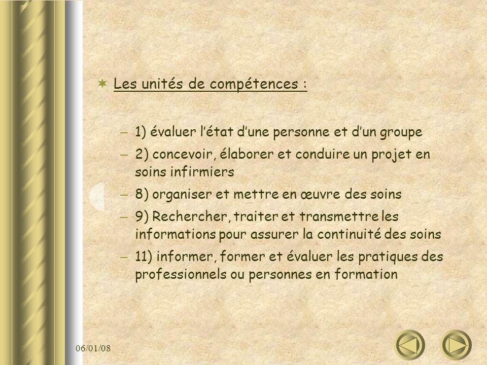 06/01/08 Les unités de compétences : – 1) évaluer létat dune personne et dun groupe – 2) concevoir, élaborer et conduire un projet en soins infirmiers