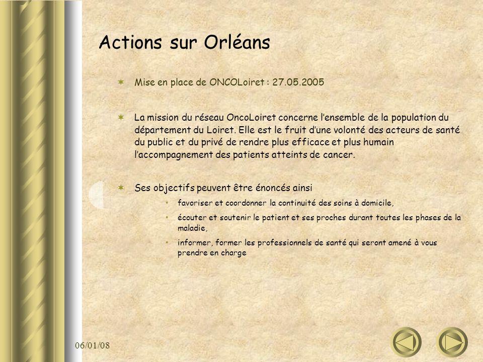 06/01/08 Actions sur Orléans Mise en place de ONCOLoiret : 27.05.2005 La mission du réseau OncoLoiret concerne lensemble de la population du départeme