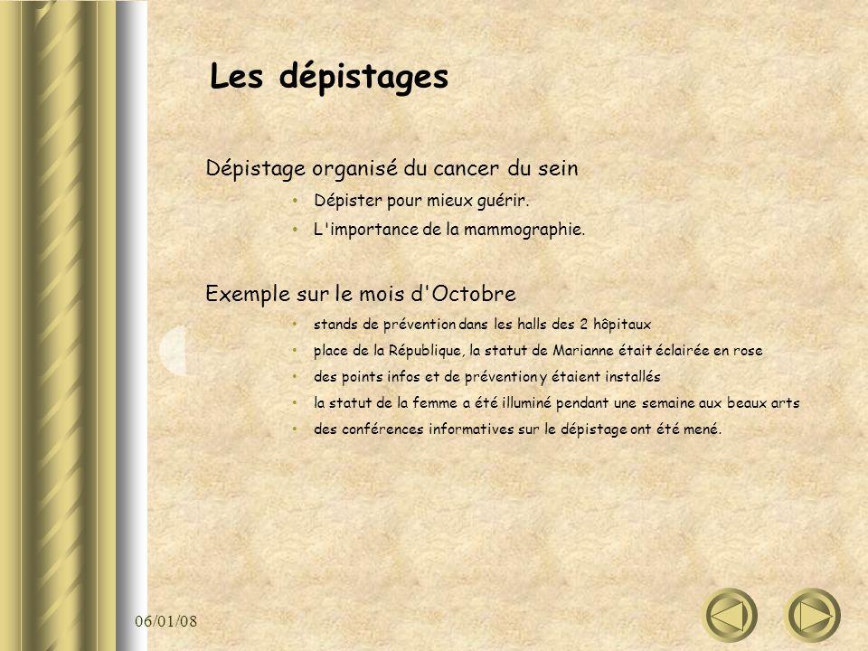 06/01/08 Les dépistages Dépistage organisé du cancer du sein Dépister pour mieux guérir. L'importance de la mammographie. Exemple sur le mois d'Octobr