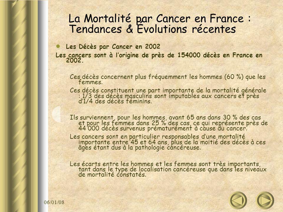 06/01/08 La Mortalité par Cancer en France : Tendances & Évolutions récentes Les Décès par Cancer en 2002 Les cancers sont à lorigine de près de 15400