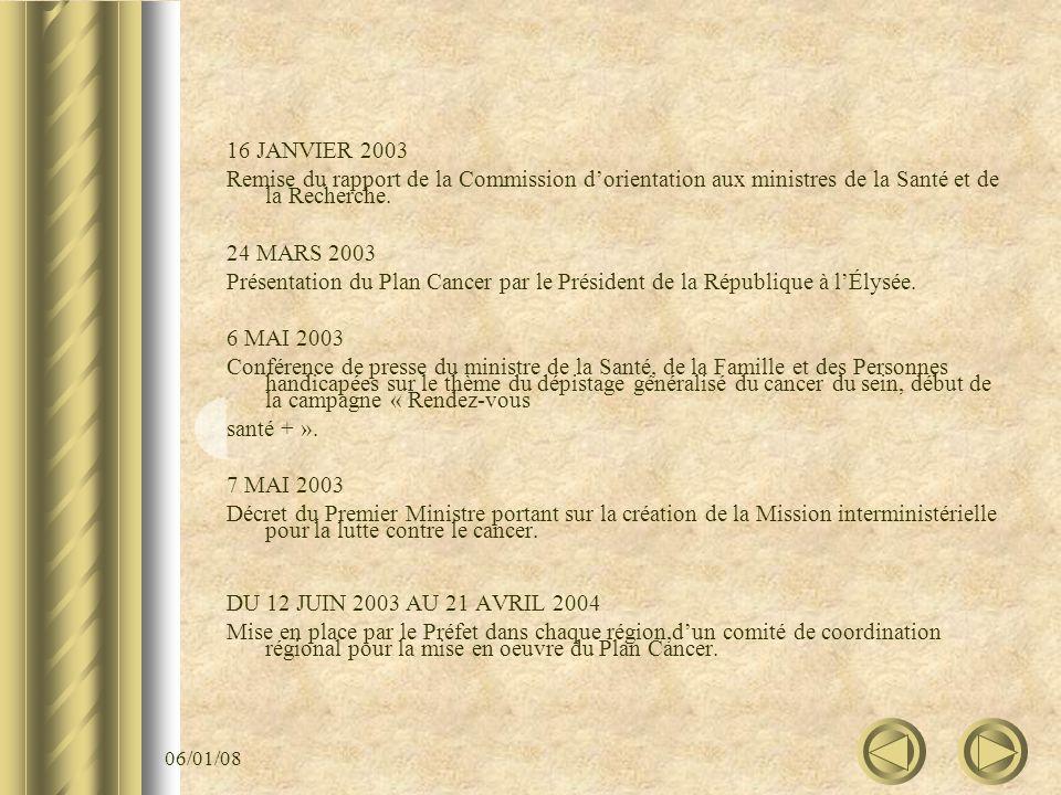 06/01/08 16 JANVIER 2003 Remise du rapport de la Commission dorientation aux ministres de la Santé et de la Recherche. 24 MARS 2003 Présentation du Pl