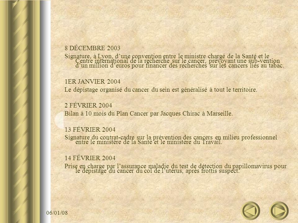 06/01/08 8 DÉCEMBRE 2003 Signature, à Lyon, dune convention entre le ministre chargé de la Santé et le Centre international de la recherche sur le can
