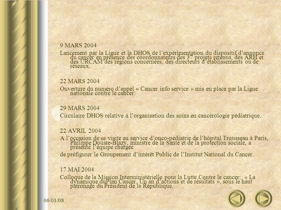 06/01/08 9 MARS 2004 Lancement par la Ligue et la DHOS de lexpérimentation du dispositif dannonce du cancer en présence des coordonnateurs des 37 proj