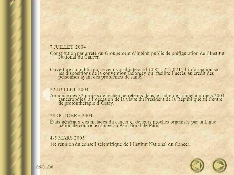 06/01/08 7 JUILLET 2004 Constitution par arrêté du Groupement dintérêt public de préfiguration de lInstitut National du Cancer. Ouverture au public du