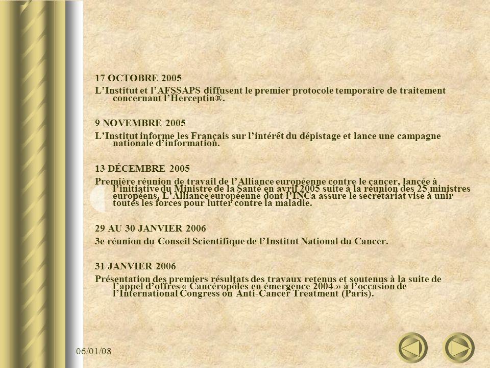 06/01/08 17 OCTOBRE 2005 LInstitut et lAFSSAPS diffusent le premier protocole temporaire de traitement concernant lHerceptin®. 9 NOVEMBRE 2005 LInstit