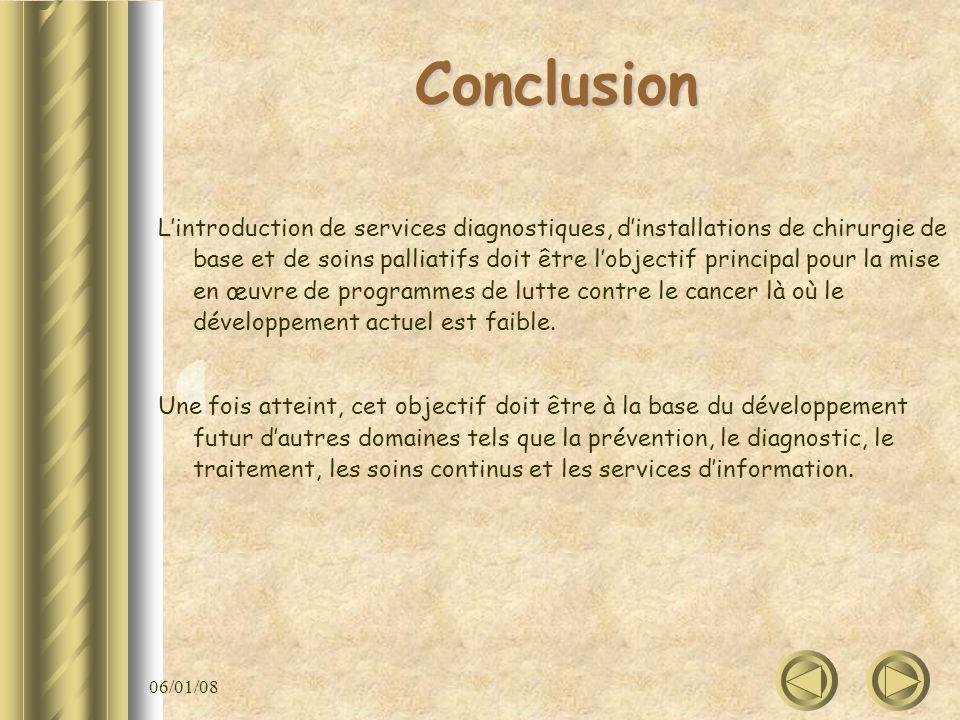 06/01/08 Conclusion Lintroduction de services diagnostiques, dinstallations de chirurgie de base et de soins palliatifs doit être lobjectif principal