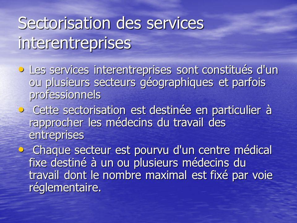 Sectorisation des services interentreprises Les services interentreprises sont constitués d'un ou plusieurs secteurs géographiques et parfois professi