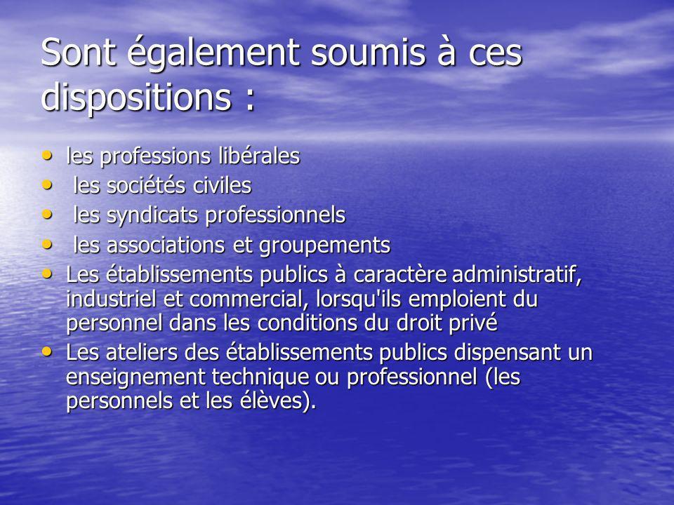 Sont également soumis à ces dispositions : les professions libérales les professions libérales les sociétés civiles les sociétés civiles les syndicats