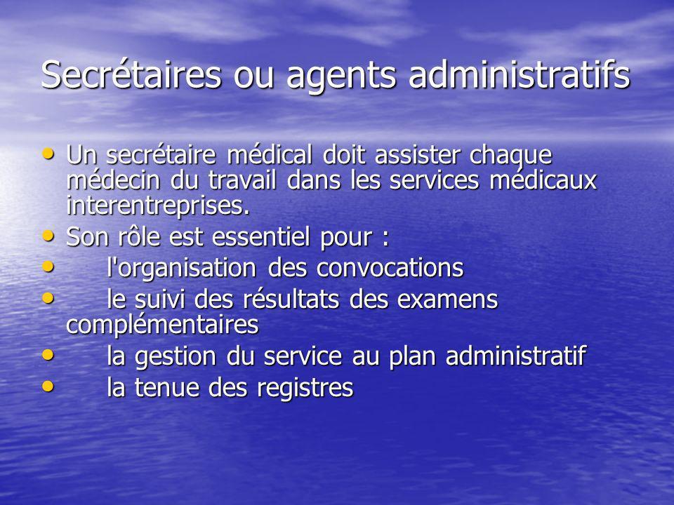 Secrétaires ou agents administratifs Un secrétaire médical doit assister chaque médecin du travail dans les services médicaux interentreprises. Un sec