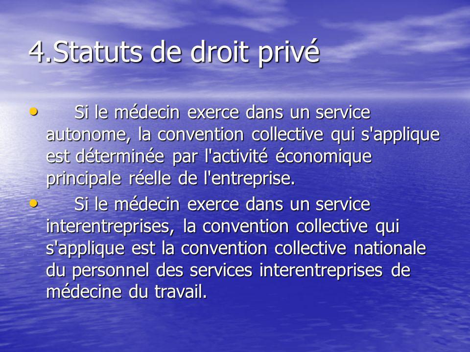 4.Statuts de droit privé Si le médecin exerce dans un service autonome, la convention collective qui s'applique est déterminée par l'activité économiq