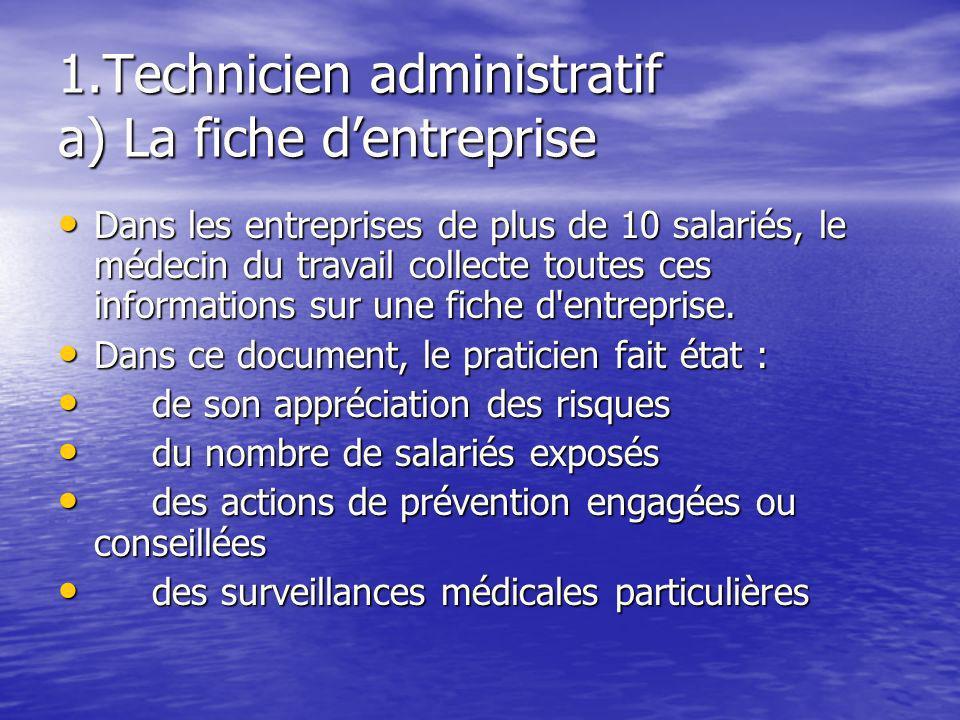 1.Technicien administratif a) La fiche dentreprise Dans les entreprises de plus de 10 salariés, le médecin du travail collecte toutes ces informations
