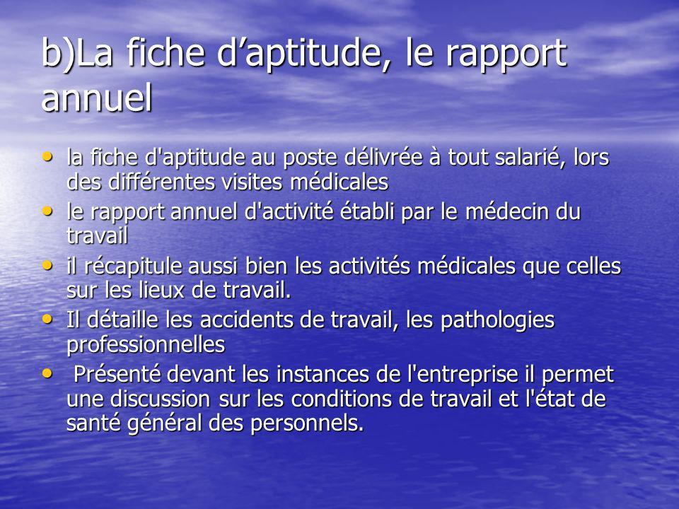 b)La fiche daptitude, le rapport annuel la fiche d'aptitude au poste délivrée à tout salarié, lors des différentes visites médicales la fiche d'aptitu