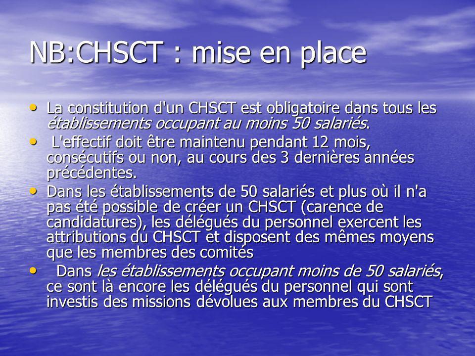 NB:CHSCT : mise en place La constitution d'un CHSCT est obligatoire dans tous les établissements occupant au moins 50 salariés. La constitution d'un C