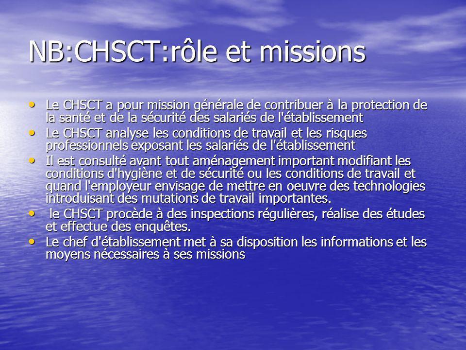 NB:CHSCT:rôle et missions Le CHSCT a pour mission générale de contribuer à la protection de la santé et de la sécurité des salariés de l'établissement