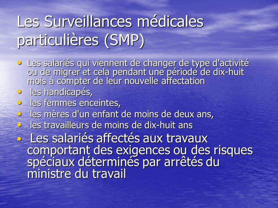 Les Surveillances médicales particulières (SMP) Les salariés qui viennent de changer de type d'activité ou de migrer et cela pendant une période de di