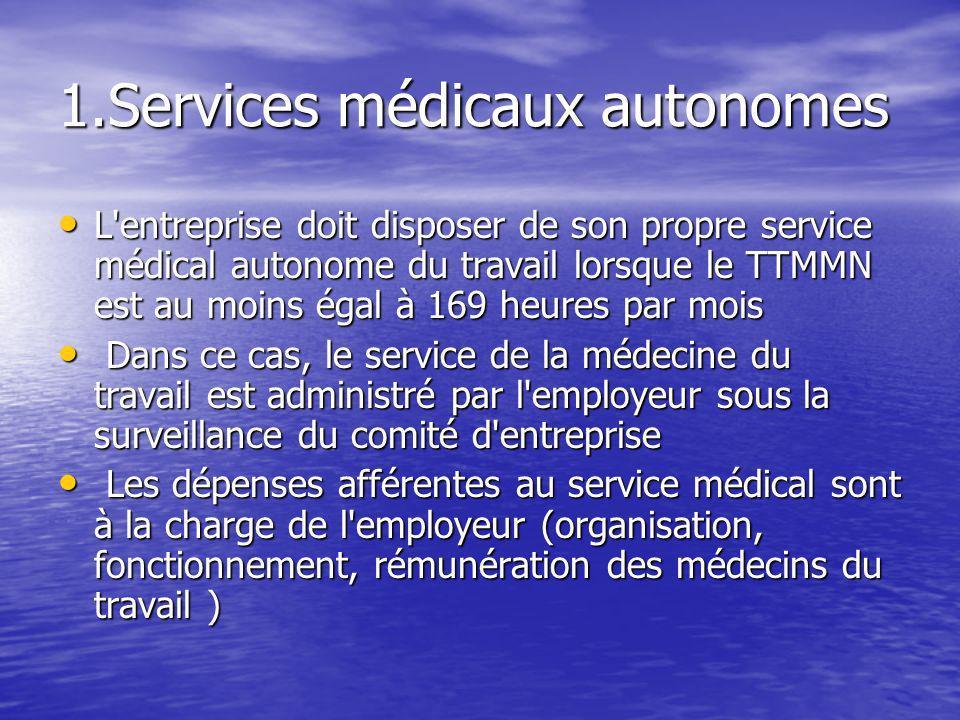 1.Services médicaux autonomes L'entreprise doit disposer de son propre service médical autonome du travail lorsque le TTMMN est au moins égal à 169 he