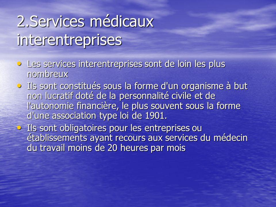 2.Services médicaux interentreprises Les services interentreprises sont de loin les plus nombreux Les services interentreprises sont de loin les plus