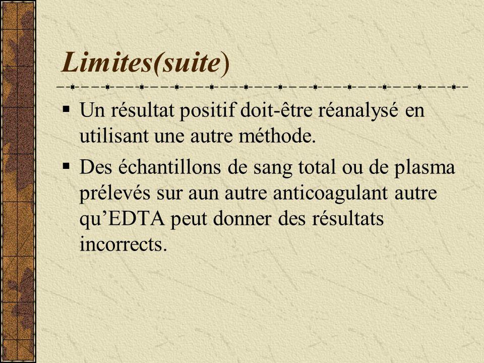 Techniques utilisées(suite) Limites des tests rapides; -Un résultat négatif par un test rapide nexclut pas la possibilité dune infection par le Vih ;