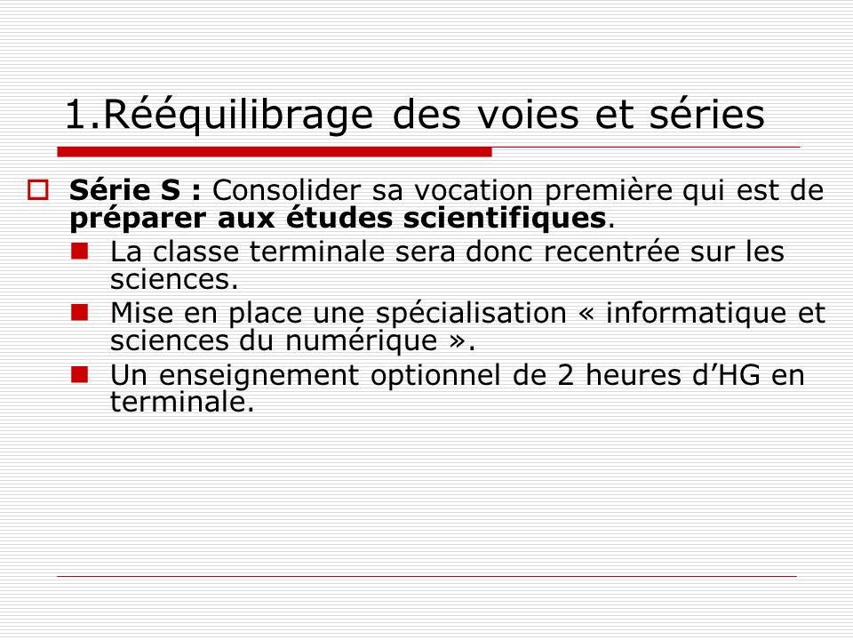 1.Rééquilibrage des voies et séries Série S : Consolider sa vocation première qui est de préparer aux études scientifiques. La classe terminale sera d
