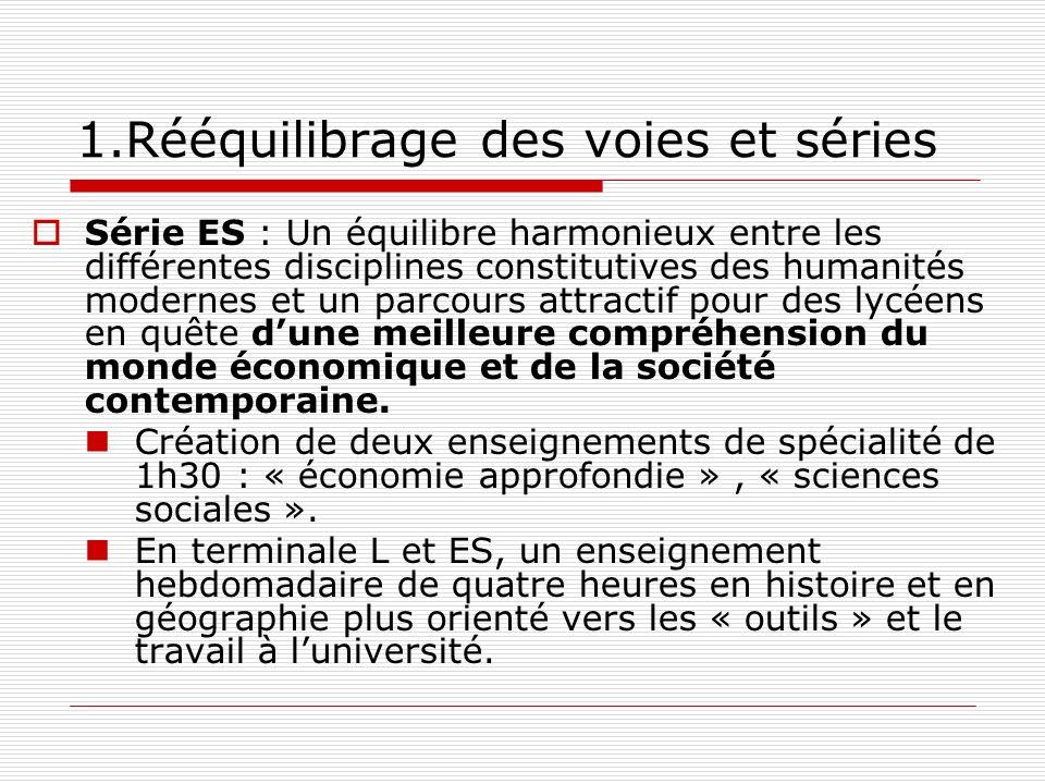 1.Rééquilibrage des voies et séries Série ES : Un équilibre harmonieux entre les différentes disciplines constitutives des humanités modernes et un pa