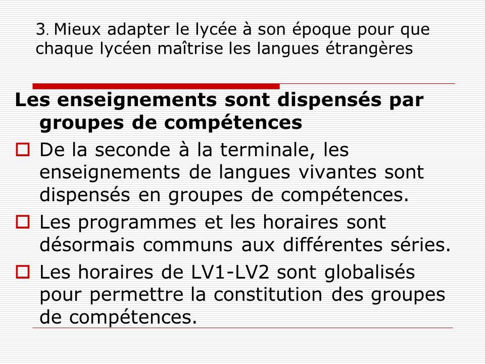 3. Mieux adapter le lycée à son époque pour que chaque lycéen maîtrise les langues étrangères Les enseignements sont dispensés par groupes de compéten