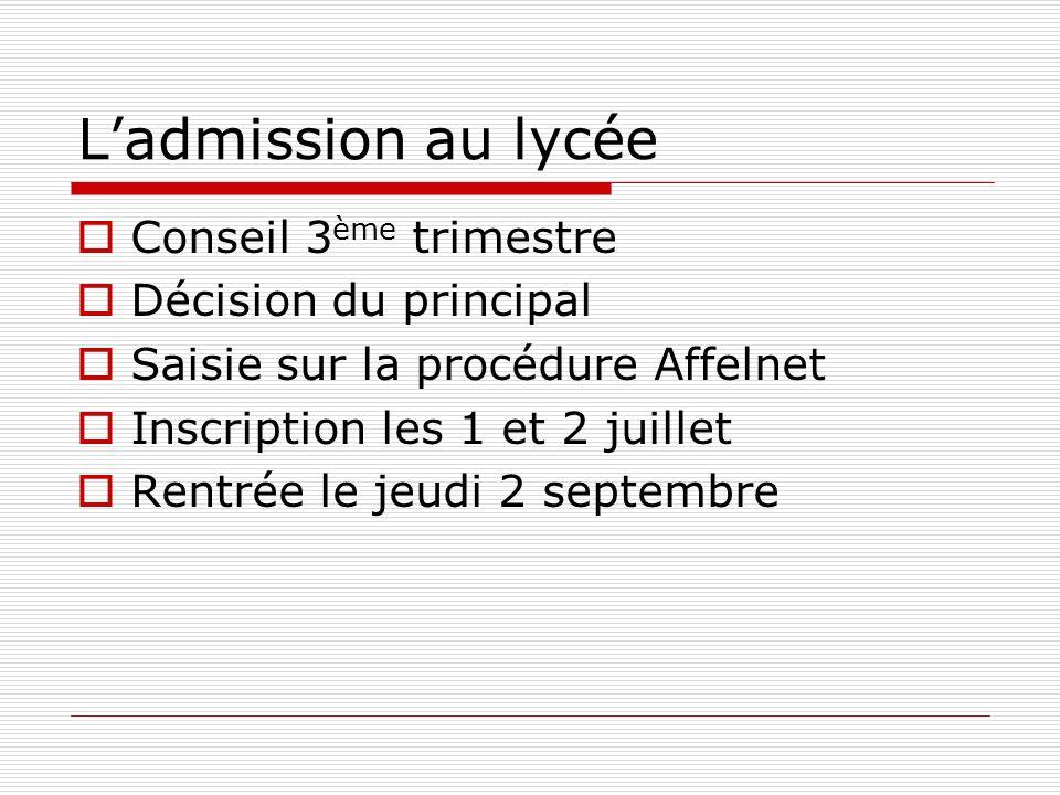 Ladmission au lycée Conseil 3 ème trimestre Décision du principal Saisie sur la procédure Affelnet Inscription les 1 et 2 juillet Rentrée le jeudi 2 s