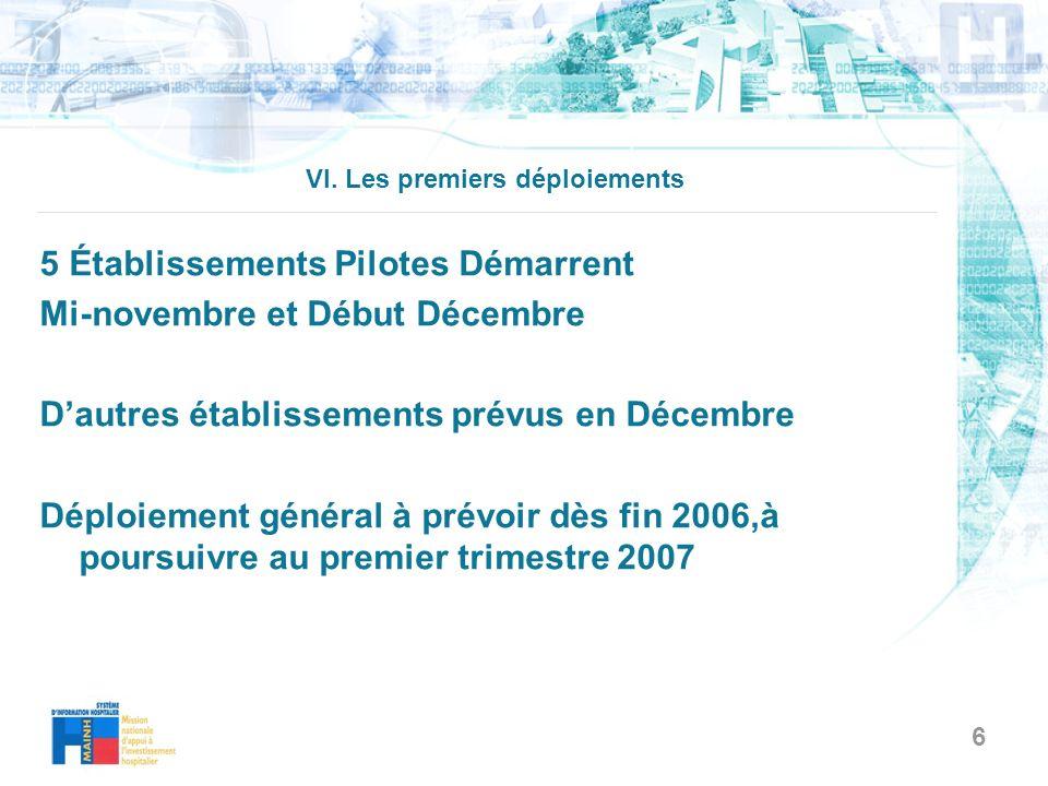 6 VI. Les premiers déploiements 5 Établissements Pilotes Démarrent Mi-novembre et Début Décembre Dautres établissements prévus en Décembre Déploiement