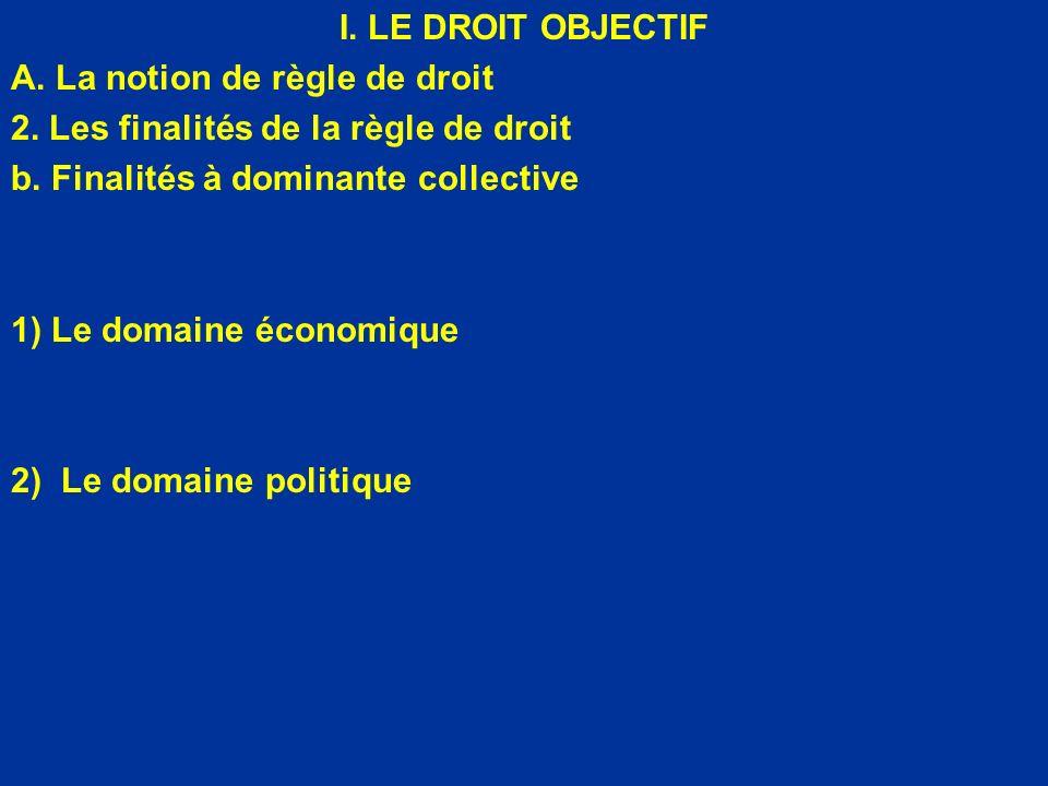 I. LE DROIT OBJECTIF A. La notion de règle de droit 2. Les finalités de la règle de droit b. Finalités à dominante collective 1) Le domaine économique