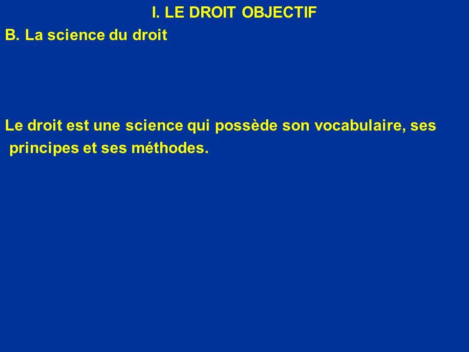 I. LE DROIT OBJECTIF B. La science du droit Le droit est une science qui possède son vocabulaire, ses principes et ses méthodes.