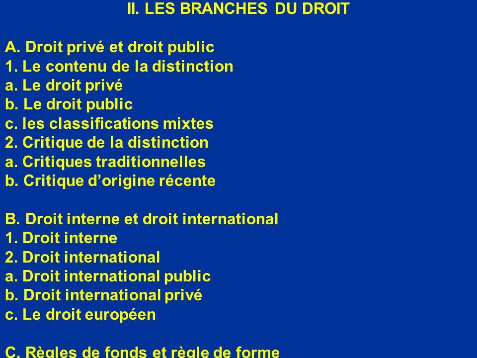 II. LES BRANCHES DU DROIT A. Droit privé et droit public 1. Le contenu de la distinction a. Le droit privé b. Le droit public c. les classifications m