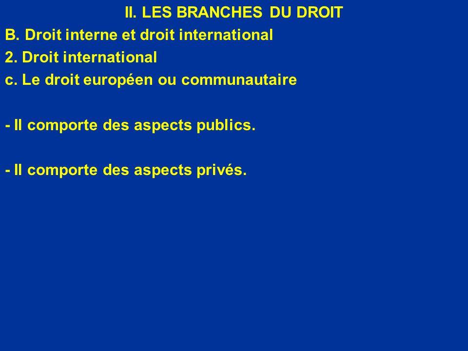 II. LES BRANCHES DU DROIT B. Droit interne et droit international 2. Droit international c. Le droit européen ou communautaire - Il comporte des aspec